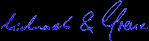 Handschriftliche Unterschriften von Michael und Irene